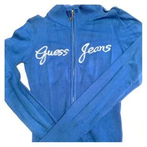 Guess Jeans Zip Up Sweater Bright Blue M